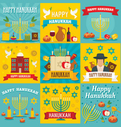 Hanukkah banner set flat style vector