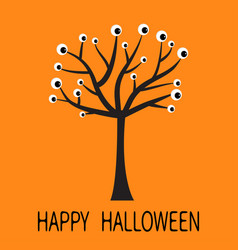 happy halloween greeting card black tree vector image
