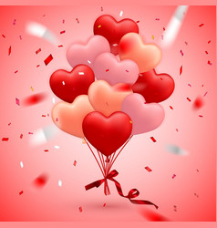 happy valentines day background red balloon vector image