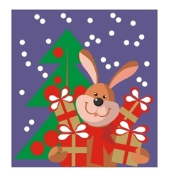 Hare new year gift in color 11 vector image