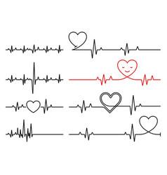 Heart pulse cardiogram line heartbeat vector