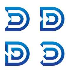 initial letter d logo icon set clean blue design vector image