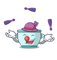 juggling steel pot mascot cartoon vector image