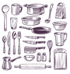 kitchen utensils sketch cooking tools pan knife vector image