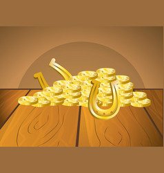 Leprechaun horseshoe gold coins vector