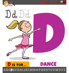 Letter d from alphabet with cartoon dancing girl vector