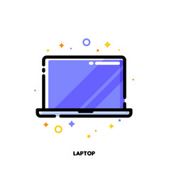line icon of laptop computer with big display vector image