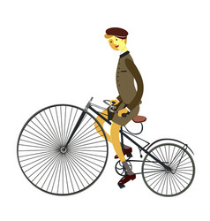 Man on retro vintage old bicycle isolated on white vector