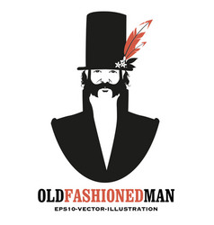 man with mustache and sideburns in old style vector image