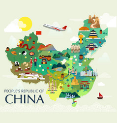 Map of china attractions vector