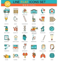 Medical flat line icon set Modern elegant vector image