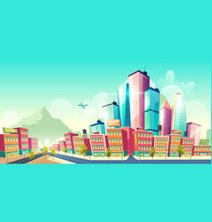 Modern city downtown development cartoon vector