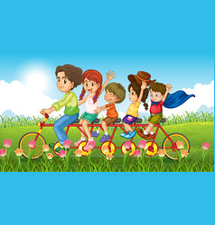 Nature scene background with family riding vector