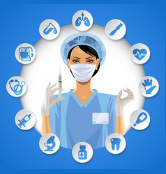 nurse girl in a round frame with medical care vector image