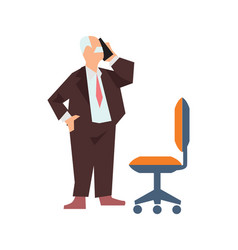 old man in business suit speak phone vector image