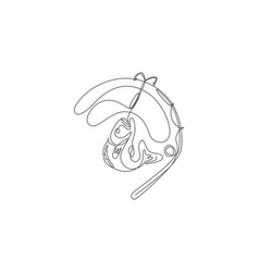 One single line drawing fishing club and vector