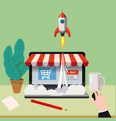 open laptop with purchase screen concept launch vector image