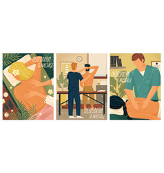 Osteopathy and massage therapy concept vector