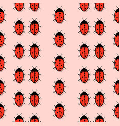 pattern with a picture of ladybirds with a mirror vector image