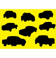 Pick-up trucks silhouettes part 1 vector image