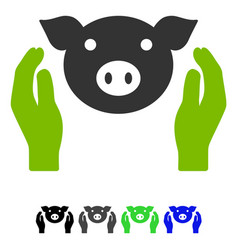 pig care hands flat icon vector image