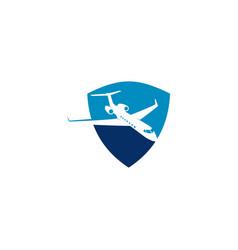 Plane shield logo symbol template vector