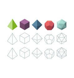platonic solid geometrical 3d object shapes vector image
