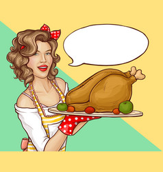 pop art woman holding tray with turkey or chicken vector image