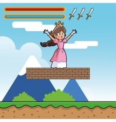 Princess and videogame design vector image