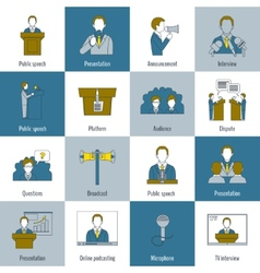 Public speaking icons flat line vector