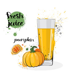 Pumpkin juice fresh hand drawn watercolor vector