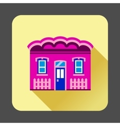 Purple cottage icon flat style vector image