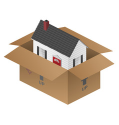Real-estate moving house packing box vector
