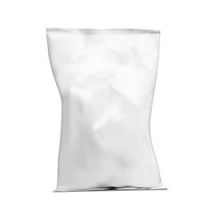 Realistic white plastic snack bag packaging vector