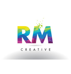 Rm r m colorful letter origami triangles design vector