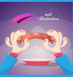 sausage cartoon hand - funny vector image