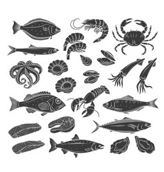 Seafood glyph icon set vector