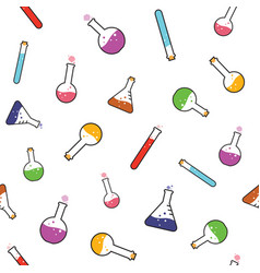 seamless colorful chemical vial pattern background vector image