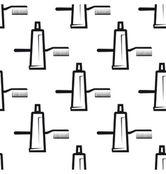Seamless pattern of toothpaste and brush vector image