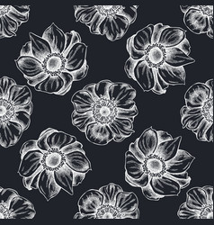 seamless pattern with hand drawn chalk anemone vector image
