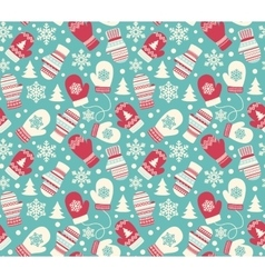 Seamless Winter Holidays Pattern with Mittens vector image