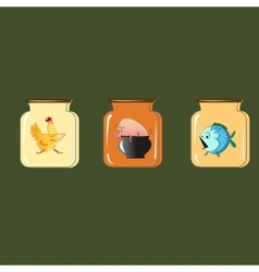 Set of containers for preservation design vector
