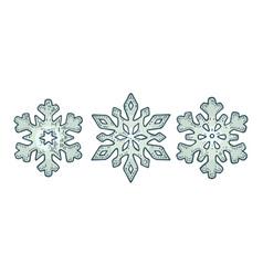 set snowflakes vintage black engraving vector image