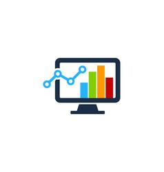 Stats computer logo icon design vector