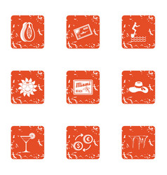 Stroll icons set grunge style vector