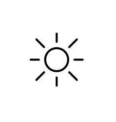 Sun light brightness line black icon vector