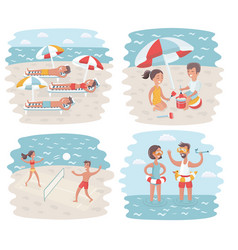Sunny day in crowded ipanema beach vector