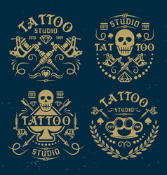 tattoo studio emblems on dark blue backdrop vector image