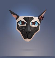 Tattooed portrait siamese cat vector