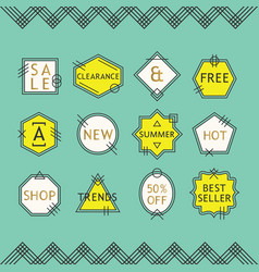 trendy yellow and white line sale emblems set vector image